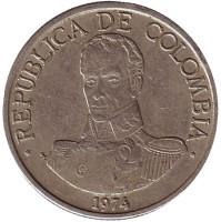 Симон Боливар. Монета 1 песо. 1974 год, Колумбия.