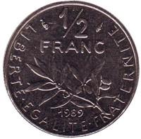 Монета 1/2 франка. 1989 год, Франция.