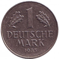 Монета 1 марка. 1983 год (J), ФРГ. Из обращения.