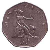 Монета 50 новых пенсов. 1978 год, Великобритания.
