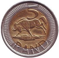 Антилопа гну. Монета 5 рандов. 2008 год, ЮАР.