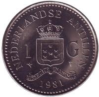 Монета 1 гульден. 1981 год, Нидерландские Антильские острова. aUNC.