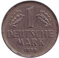 Монета 1 марка. 1959 год (J), ФРГ.