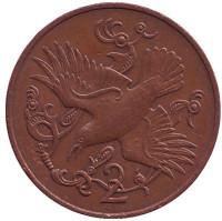Птица. Монета 2 пенса. 1980 год (AB), Остров Мэн.