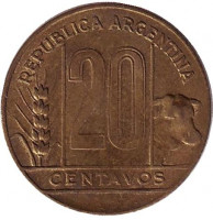 Монета 20 сентаво. 1950 год, Аргентина. (Старый тип)