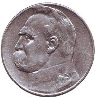 Юзеф Пилсудский. Монета 5 злотых. 1934 год, Польша. (Орёл с короной)