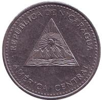 Горы-вулканы. Монета 1 кордоба. 2007 год, Никарагуа. Из обращения.