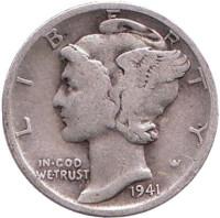 Меркурий. Монета 10 центов. 1941 год, США. Монетный двор D.
