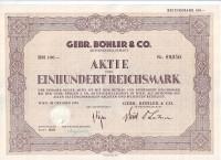 "Акционерное общество ""Gebr. Bohler & Co"". Акция 100 рейхсмарок. Вена, 1939 год, Третий рейх."