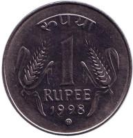 """Монета 1 рупия. 1998 год, Индия. (""""mk"""" - Кремница)"""