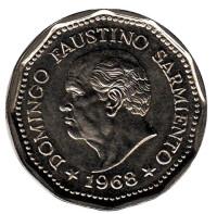 80 лет со дня смерти Доминго Фаустино Сармиенто. Монета 25 песо. 1968 год, Аргентина.