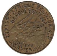 Африканские антилопы. (Западные канны). Монета 5 франков. 1970 год, Камерун.