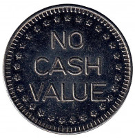 "Игровой жетон ""No Cash Value. No Cash Value"". (Белый металл)"