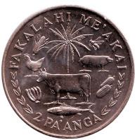ФАО. Корова. Король Тауфа'ахау Тупоу IV. Монета 2 паанга. 1975 год, Тонга.