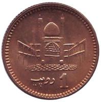 Мавзолей. Монета 1 рупия. 2006 год, Пакистан. UNC.