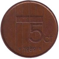 5 центов. 1989 год, Нидерланды.