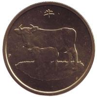 Год быка. Монета 1 доллар. 2009 год, Австралия.