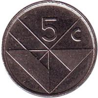 Монета 5 центов. 1999 год, Аруба.