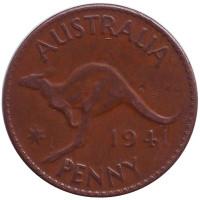 """Кенгуру. Монета 1 пенни. 1941 год, Австралия. (Без точки после """"PENNY"""")"""