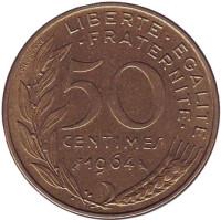 Монета 50 сантимов. 1964 год, Франция.