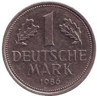 Монета 1 марка. 1986 год (D), ФРГ.