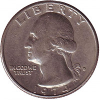 Вашингтон. Монета 25 центов. 1974 (D) год, США.