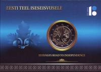 Путь Эстонии к независимости. (100-летие независимости). Монета 2 евро. 2017 год, Эстония. (в буклете)
