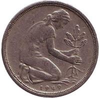 Женщина, сажающая дуб. Монета 50 пфеннигов. 1949 (D) год, ФРГ.