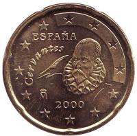 Монета 20 центов. 2000 год, Испания.