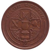 Кельтский крест. Монета 2 пенса. 1988 год, Остров Мэн. (AD)