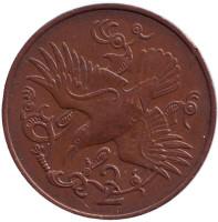Птица. Монета 2 пенса. 1981 год (AB), Остров Мэн.