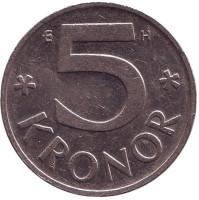 Монета 5 крон. 2004 год, Швеция.