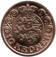 Монета 10 крон. 2017 год, Дания.