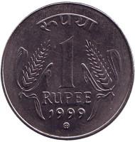 """Монета 1 рупия. 1999 год, Индия. (""""mk"""" - Кремница)"""