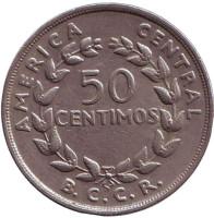 Монета 50 сантимов. 1970 год, Коста-Рика.