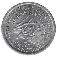 Африканские антилопы. (Западные канны). Монета 1 франк. 1971 год, Камерун.