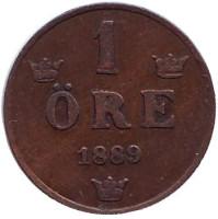 Монета 1 эре. 1889 год, Швеция.