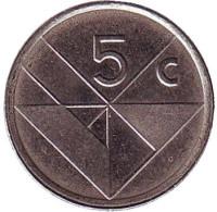 Монета 5 центов. 2001 год, Аруба.