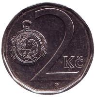 Монета 2 кроны. 2016 год, Чехия.