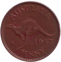 """Кенгуру. Монета 1 пенни. 1943 год, Австралия. (Точка после """"PENNY"""")"""