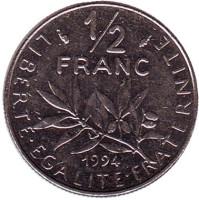 Монета 1/2 франка. 1994 год, Франция. (рыбка)