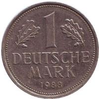 Монета 1 марка. 1988 год (F), ФРГ.