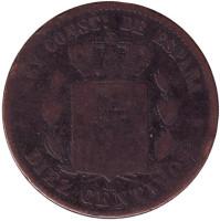 Монета 10 сантимов. 1879 год, Испания.