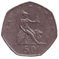 Монета 50 новых пенсов. 1980 год, Великобритания.