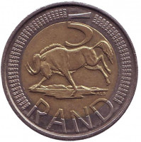 Антилопа гну. Монета 5 рандов. 2012 год, ЮАР.