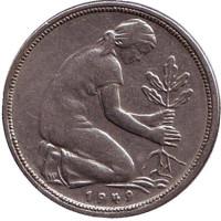 Женщина, сажающая дуб. Монета 50 пфеннигов. 1949 (F) год, ФРГ.