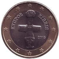 Монета 1 евро. 2015 год, Кипр.