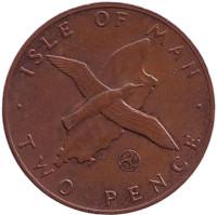 """Малый буревестник. Монета 2 пенса. 1979 год, Остров Мэн. (Отметка """"AD"""")"""
