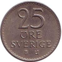 Монета 25 эре. 1969 год, Швеция.