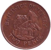Музей в городе Сент-Хелиер. Монета 2 пенса. 1985 год, Джерси.